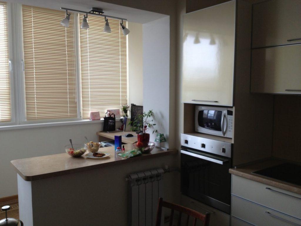 красивое продление кухни за счет балкона фото фотографии